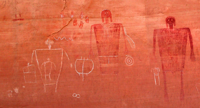 """The image above illustrates Severin Fowles' talk on """"Neolithic Metapictures of the American Southwest""""."""
